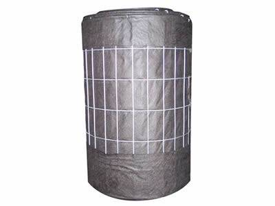 There is a roll of gray silt fencing with white wire backed.