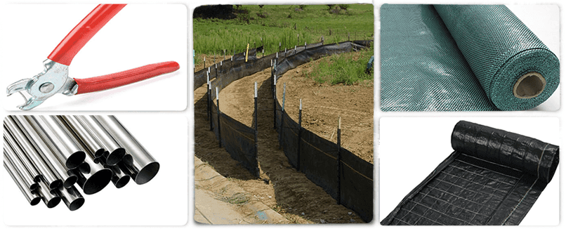 Silt fences and related accessories surrounding a picture which shows silt fences with metal posts being set on the slope.