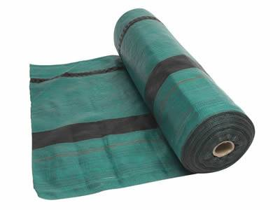 This is a roll of teal silt fence fabric with black stripes.